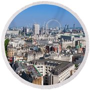 Sumer Panorama Of London Round Beach Towel