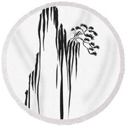Sumi-e - Bonsai - One Round Beach Towel