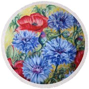 Summer Abundance Round Beach Towel by Rosemary Colyer