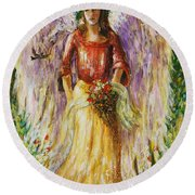Summer Angel Round Beach Towel