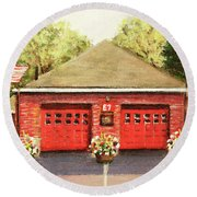Summer At E7 Fire Station Round Beach Towel by Rita Brown