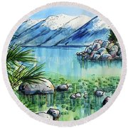 Summer At Lake Tahoe Round Beach Towel