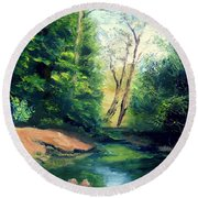 Round Beach Towel featuring the painting Summer At Storm by Gail Kirtz