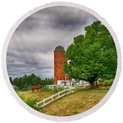 Summer At The Farm Round Beach Towel by Tricia Marchlik