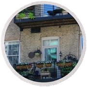 Round Beach Towel featuring the photograph Summer Balconies In Chicago Illinois by Colleen Cornelius