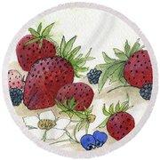 Summer Berries Round Beach Towel