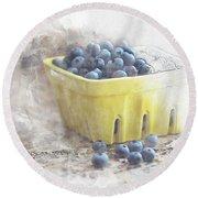 Round Beach Towel featuring the digital art Summer Blueberries by Sue Collura