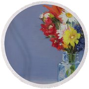 Round Beach Towel featuring the painting Summer Bouquet by Jane Autry