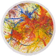 Summer Branches Alfame With Flower Acrylic/water Round Beach Towel