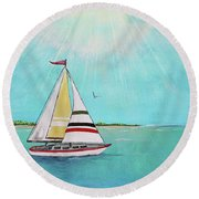 Round Beach Towel featuring the painting Summer Breeze-b by Jean Plout