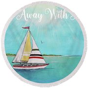 Round Beach Towel featuring the painting Summer Breeze-c by Jean Plout