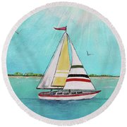 Round Beach Towel featuring the painting Summer Breeze-d by Jean Plout