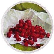Summer Cherries Round Beach Towel