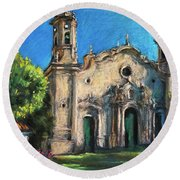 Summer Church Round Beach Towel
