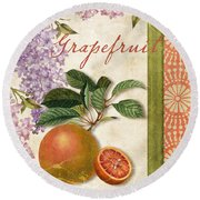Summer Citrus Grapefruit Round Beach Towel by Mindy Sommers