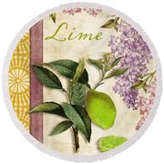 Summer Citrus Lime Round Beach Towel by Mindy Sommers