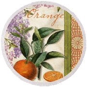 Summer Citrus Orange Round Beach Towel by Mindy Sommers