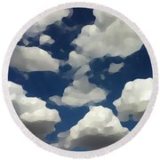 Summer Clouds In A Blue Sky Round Beach Towel