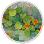 Round Beach Towel featuring the painting Summer Colors by Elena Oleniuc