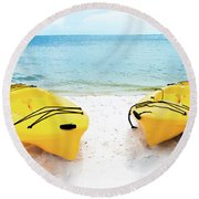 Round Beach Towel featuring the photograph Summer Colors On The Beach by Shelby Young