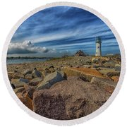 Summer Day At Scituate Lighthouse Round Beach Towel