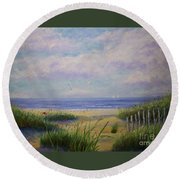 Summer Day At The Beach Round Beach Towel