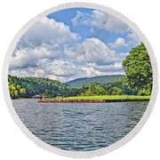 Summer Day At The Lake Round Beach Towel