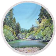 Summer Day On The Gualala River Round Beach Towel by Asha Carolyn Young