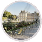 Summer Day Out At The Luxembourg Garden Round Beach Towel
