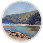 Summer Day Patonga Nsw Australia Round Beach Towel