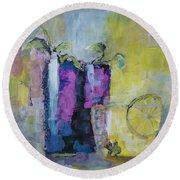 Summer Drinks Original Painting Round Beach Towel by Lisa Kaiser