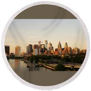 Summer Evening In Philadelphia Round Beach Towel