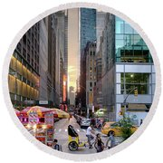 Round Beach Towel featuring the photograph Summer Evening, New York City  -17705-17711 by John Bald