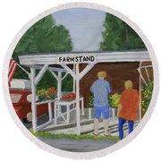 Summer Farm Stand Round Beach Towel