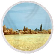 Round Beach Towel featuring the photograph Summer Field by Helga Novelli