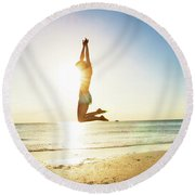 Summer Fitness Girl Round Beach Towel