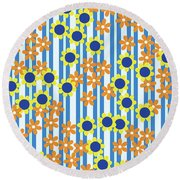 Summer Floral Stripes Blue Yellow Orange Flowers Round Beach Towel