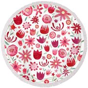 Summer Flower Circle Round Beach Towel by Nic Squirrell
