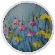 Summer Flower Garden Round Beach Towel