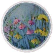 Summer Flower Garden Round Beach Towel by Mary Wolf