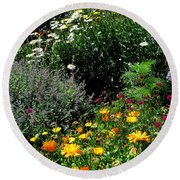 Summer Flowers 2 Round Beach Towel