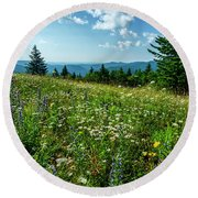 Summer Flowers In The Highlands Round Beach Towel