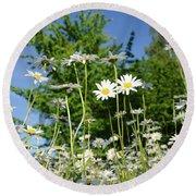 Round Beach Towel featuring the photograph Summer Flowers by Kennerth and Birgitta Kullman
