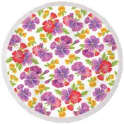 Summer Flowers Pattern Round Beach Towel