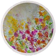 Summer Fragrance Abstract Painting Round Beach Towel
