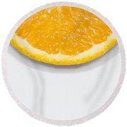 Summer Fruit Orange Slice On Studio Copyspace Round Beach Towel