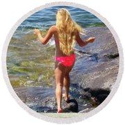 Round Beach Towel featuring the photograph Summer Fun by Kathy Kelly