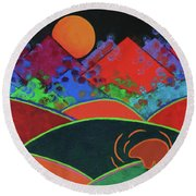 Summer Guardian Bear Round Beach Towel by Jeanette French