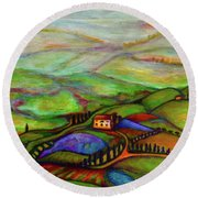 Round Beach Towel featuring the painting Summer Hills by Rae Chichilnitsky