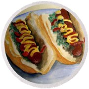 Summer Hot Dogs Round Beach Towel